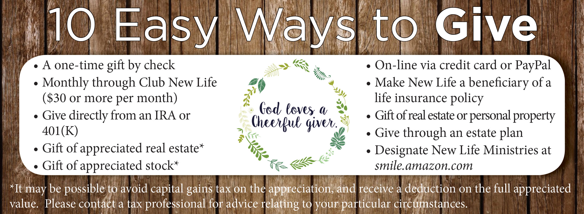 10 Ways to Donate to New Life Ministries
